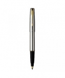 "Parker ""Frontier Stainless Steel - Gold Trims"" ручка роллер"