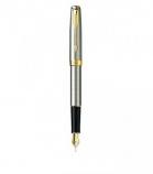"Parker ""Sonnet Stainless Steel - Gold Trims"" ручка перьевая"