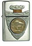 ZIPPO 20516 Piercing Buffalo Nickel Brushed Chrome -
