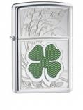 ZIPPO 24699 Four Leaf Clover Thumbprint High Polish Chrome -